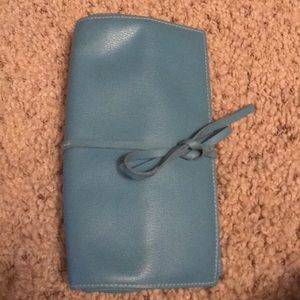 Handbags - Blue leather travel jewelry case